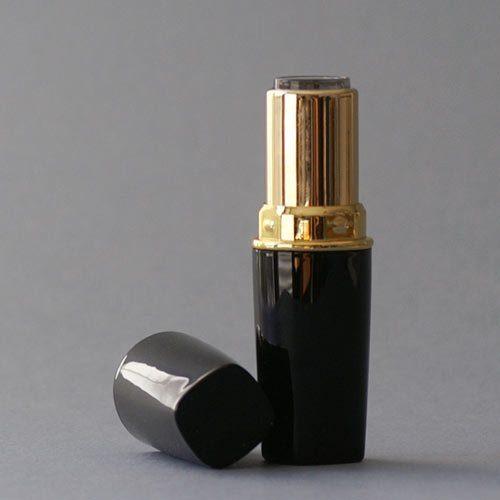 Lippenstifthülse schwarz-gold, 12,1 mm