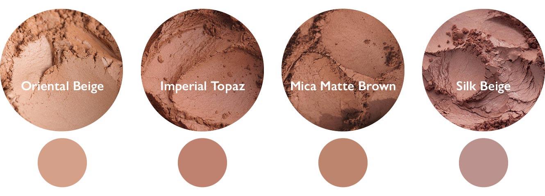 Vergleich: Oriental Beige (links), Imperial Topaz (Mitte links), Mica Matte Brown (Mitte rechts) und Silk Beige (rechts)
