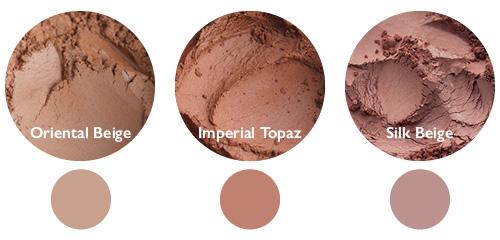 Vergleich: Oriental Beige (links), Imperial Topaz (Mitte) und Silk Beige (rechts)