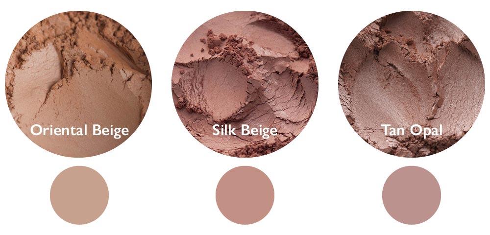 Vergleich: Oriental Beige (links), Silk Beige Mitte) und Tan Opal (rechts)