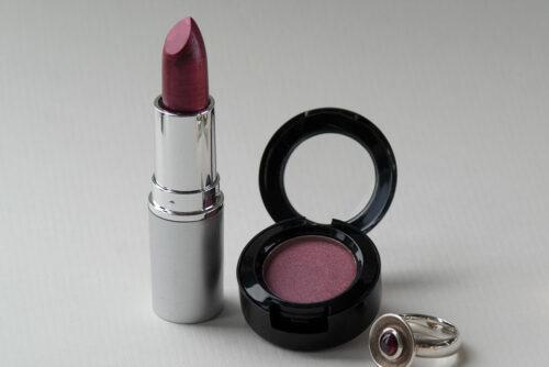 Lippenstift und Eyeshadow mit Pearlescent Mica Mauve