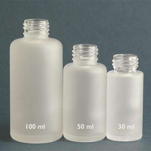 Glasflasche Satiné, 30, 50 und 100 ml