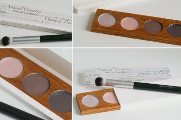 Eyeshadows in einer Palette aus geöltem Massivholz